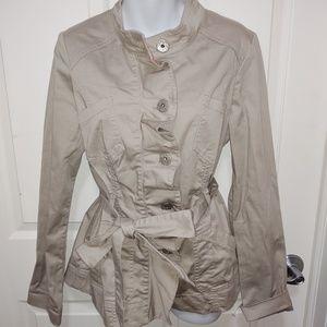 DKNY Ruffle Trim Button Down Jacket